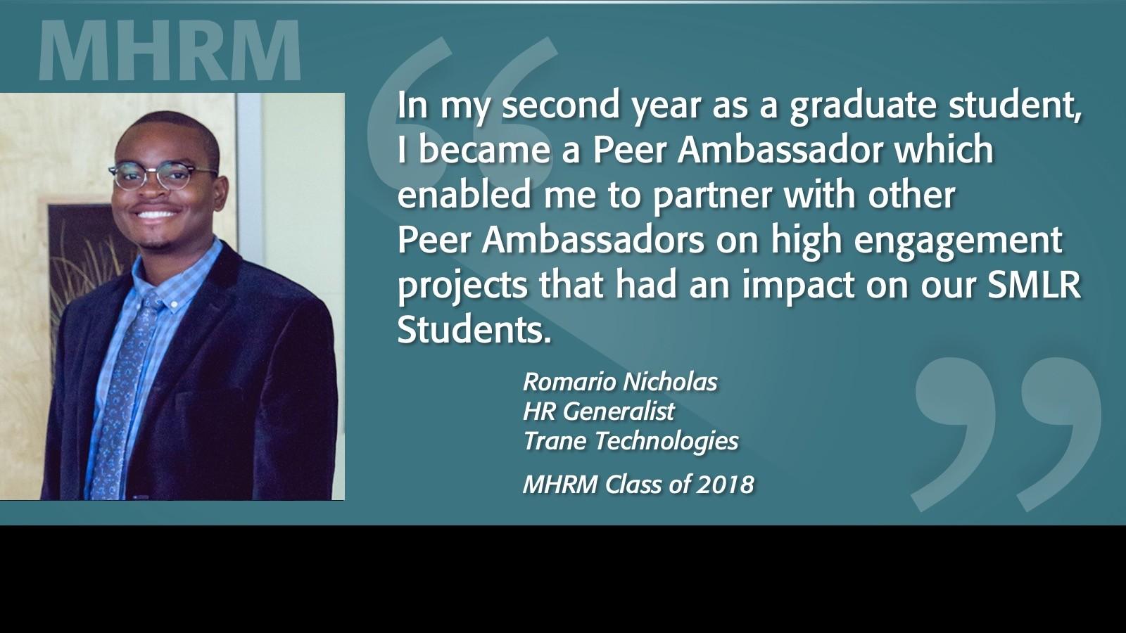 Image of Romario Nicholas MHRM Testimonial