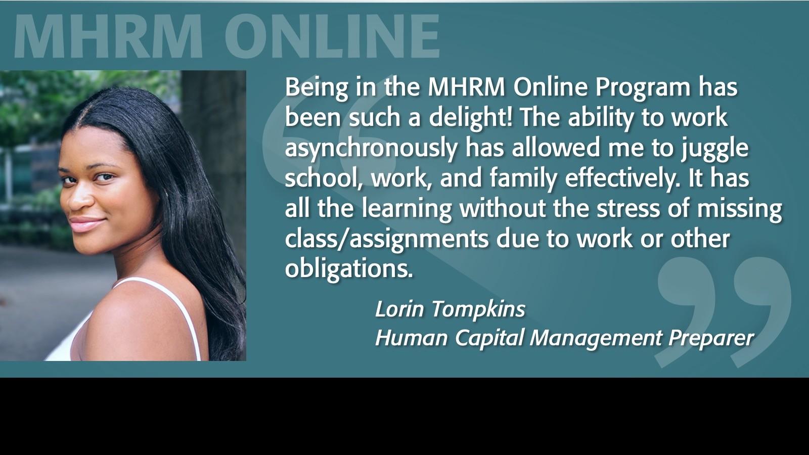 Image of Lorin Tompkins Testimonial MHRM Online