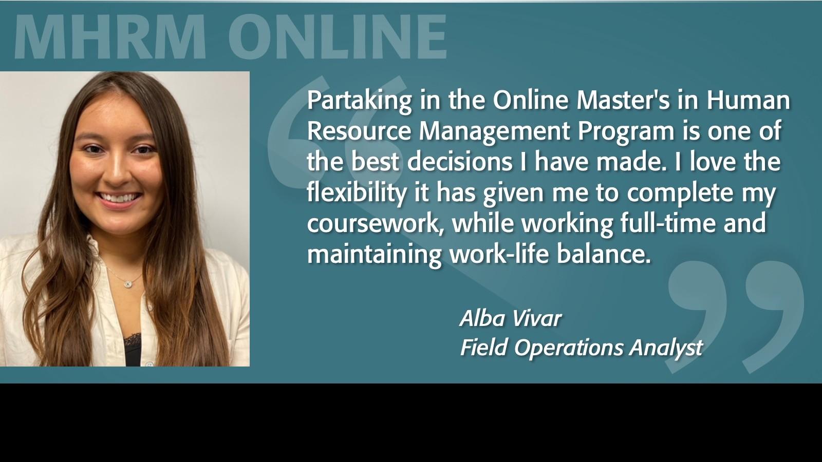 Image of Alba Vivar Testimonial MHRM Online Program