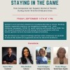 Flyer for Staying in the Game Virtual Panel Discussion