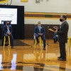 Photo of Saul Rubinstein presenting his research at Delran High School