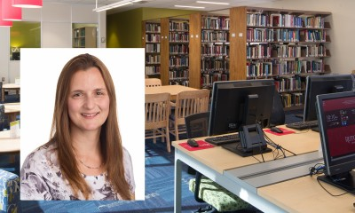 photo of Julie Peters in the Carey Library